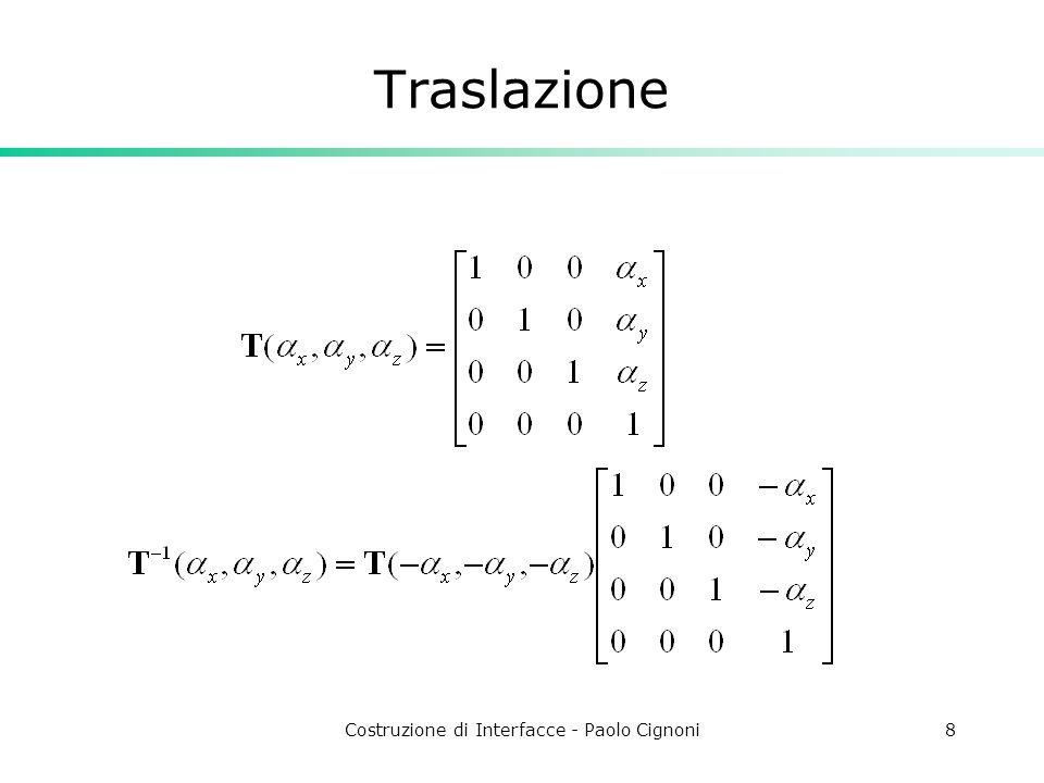 Costruzione di Interfacce - Paolo Cignoni8 Traslazione