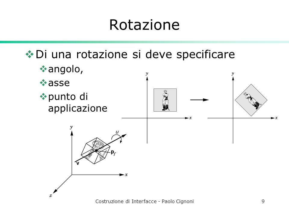 Costruzione di Interfacce - Paolo Cignoni9 Rotazione Di una rotazione si deve specificare angolo, asse punto di applicazione
