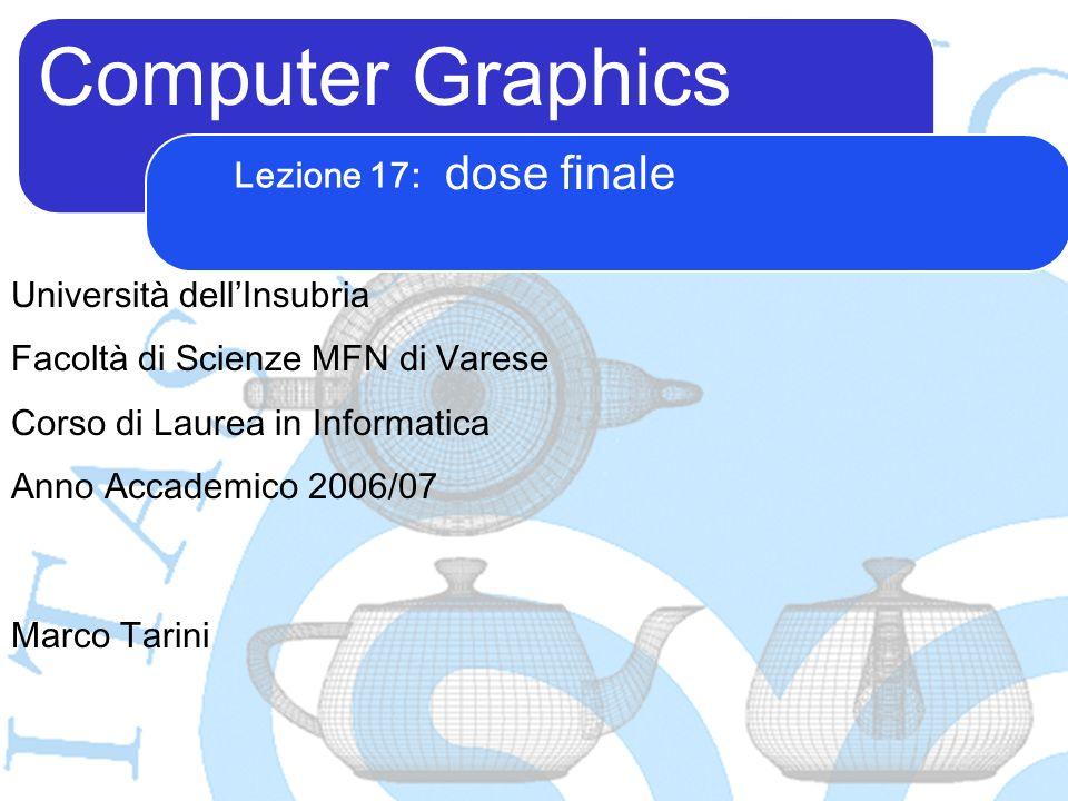 Computer Graphics Marco Tarini Università dellInsubria Facoltà di Scienze MFN di Varese Corso di Laurea in Informatica Anno Accademico 2006/07 Lezione 17: dose finale