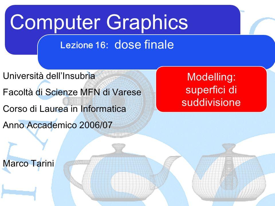 Computer Graphics Marco Tarini Università dellInsubria Facoltà di Scienze MFN di Varese Corso di Laurea in Informatica Anno Accademico 2006/07 Lezione 16: dose finale Modelling: superfici di suddivisione