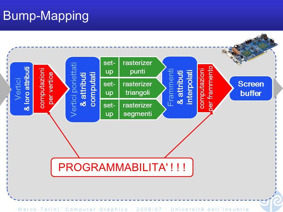 M a r c o T a r i n i C o m p u t e r G r a p h i c s 2 0 0 6 / 0 7 U n i v e r s i t à d e l l I n s u b r i a Bump-Mapping Frammenti & attributi interpolati Vertici & loro attributi Screen buffer Vertici poriettati & attributi computati rasterizer triangoli set- up rasterizer segmenti set- up rasterizer punti set- up PROGRAMMABILITA .