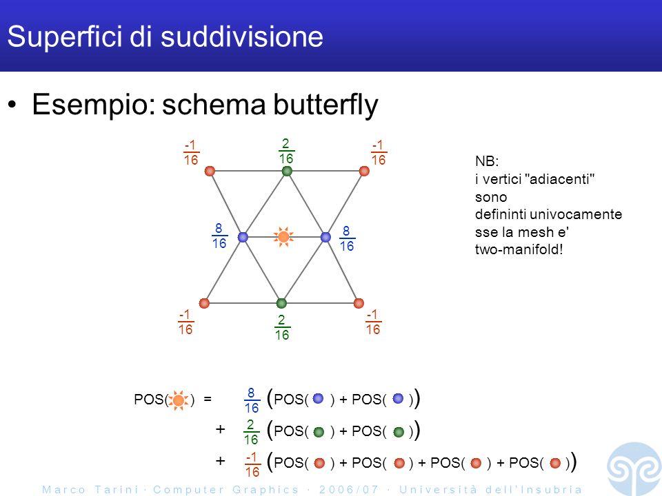 M a r c o T a r i n i C o m p u t e r G r a p h i c s 2 0 0 6 / 0 7 U n i v e r s i t à d e l l I n s u b r i a POS( ) = ( POS( ) + POS( ) ) + ( POS( ) + POS( ) ) + ( POS( ) + POS( ) + POS( ) + POS( ) ) Superfici di suddivisione Esempio: schema butterfly 8 16 8 16 2 16 2 16 16 16 16 16 8 16 2 16 16 NB: i vertici adiacenti sono defininti univocamente sse la mesh e two-manifold!
