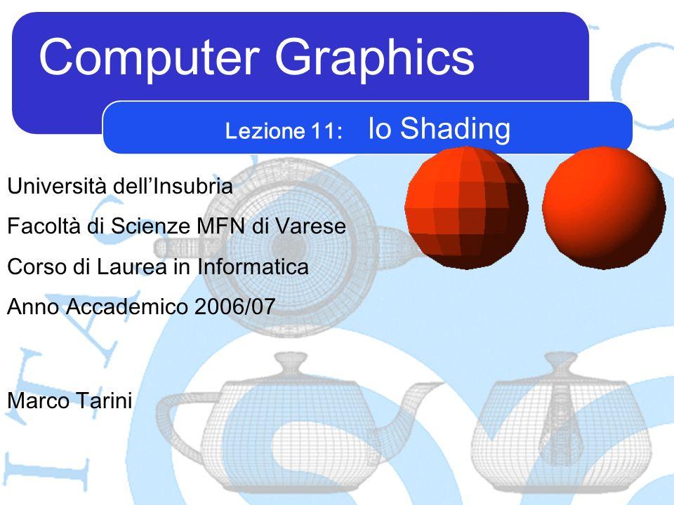 Computer Graphics Marco Tarini Università dellInsubria Facoltà di Scienze MFN di Varese Corso di Laurea in Informatica Anno Accademico 2006/07 Lezione 11: lo Shading