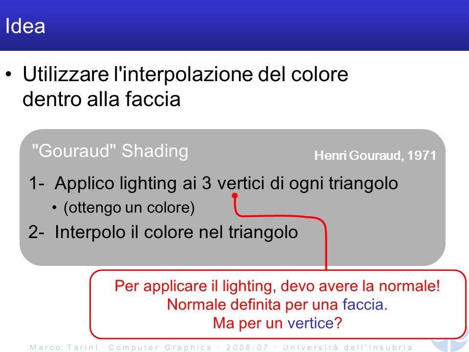 M a r c o T a r i n i C o m p u t e r G r a p h i c s 2 0 0 6 / 0 7 U n i v e r s i t à d e l l I n s u b r i a Gouraud Shading Idea Utilizzare l interpolazione del colore dentro alla faccia 1- Applico lighting ai 3 vertici di ogni triangolo (ottengo un colore) 2- Interpolo il colore nel triangolo Per applicare il lighting, devo avere la normale.