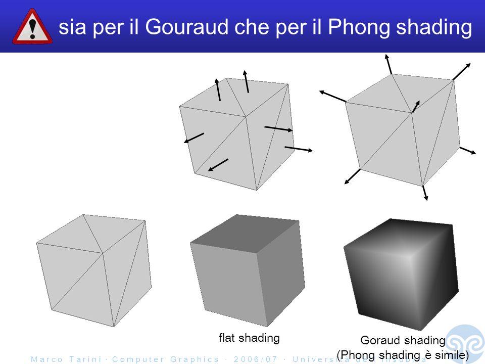 M a r c o T a r i n i C o m p u t e r G r a p h i c s 2 0 0 6 / 0 7 U n i v e r s i t à d e l l I n s u b r i a sia per il Gouraud che per il Phong shading flat shading Goraud shading (Phong shading è simile)