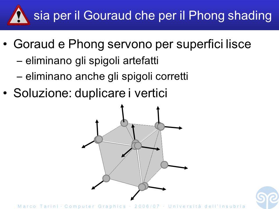 M a r c o T a r i n i C o m p u t e r G r a p h i c s 2 0 0 6 / 0 7 U n i v e r s i t à d e l l I n s u b r i a sia per il Gouraud che per il Phong shading Goraud e Phong servono per superfici lisce –eliminano gli spigoli artefatti –eliminano anche gli spigoli corretti Soluzione: duplicare i vertici