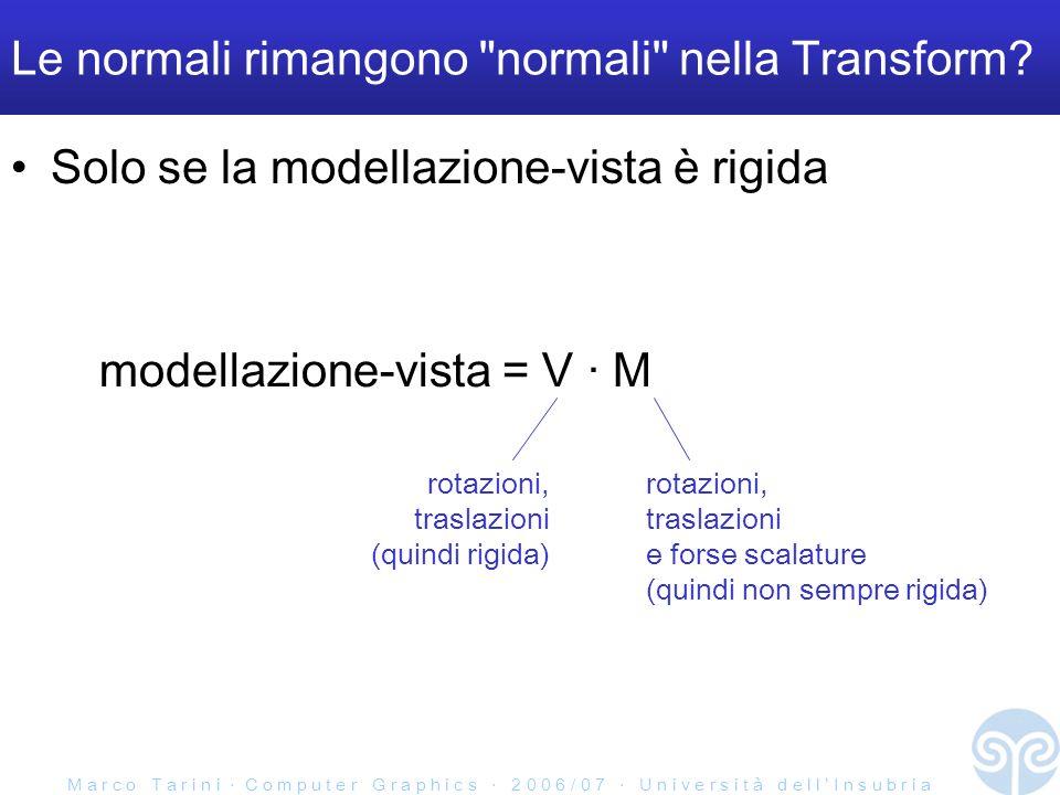 M a r c o T a r i n i C o m p u t e r G r a p h i c s 2 0 0 6 / 0 7 U n i v e r s i t à d e l l I n s u b r i a Le normali rimangono normali nella Transform.