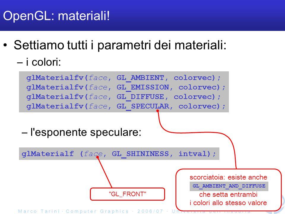 M a r c o T a r i n i C o m p u t e r G r a p h i c s 2 0 0 6 / 0 7 U n i v e r s i t à d e l l I n s u b r i a OpenGL: materiali! Settiamo tutti i pa