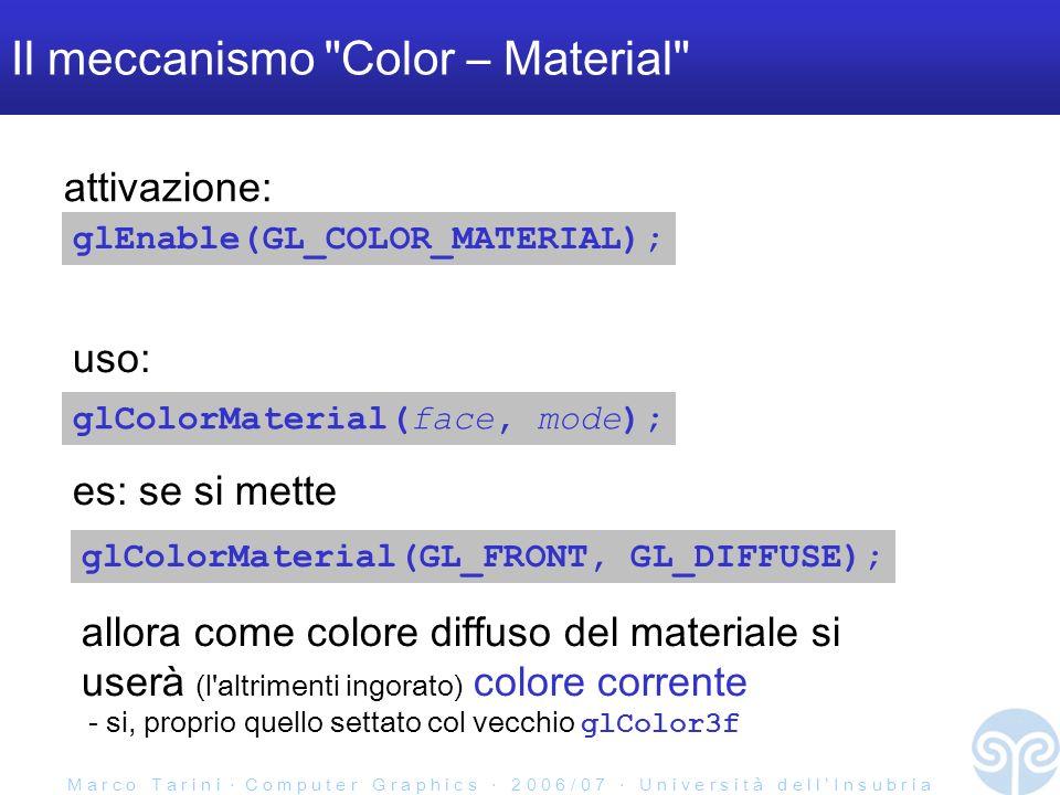 M a r c o T a r i n i C o m p u t e r G r a p h i c s 2 0 0 6 / 0 7 U n i v e r s i t à d e l l I n s u b r i a Il meccanismo Color – Material glEnable(GL_COLOR_MATERIAL); glColorMaterial(face, mode); glColorMaterial(GL_FRONT, GL_DIFFUSE); es: se si mette attivazione: uso: allora come colore diffuso del materiale si userà (l altrimenti ingorato) colore corrente - si, proprio quello settato col vecchio glColor3f