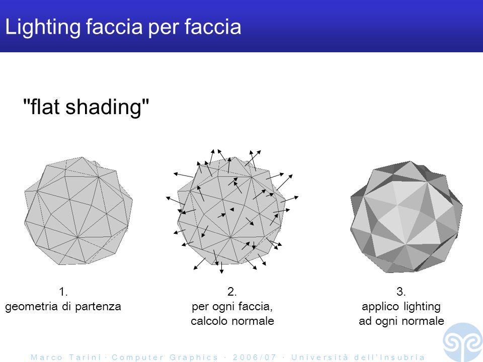 M a r c o T a r i n i C o m p u t e r G r a p h i c s 2 0 0 6 / 0 7 U n i v e r s i t à d e l l I n s u b r i a Lighting faccia per faccia flat shading 1.