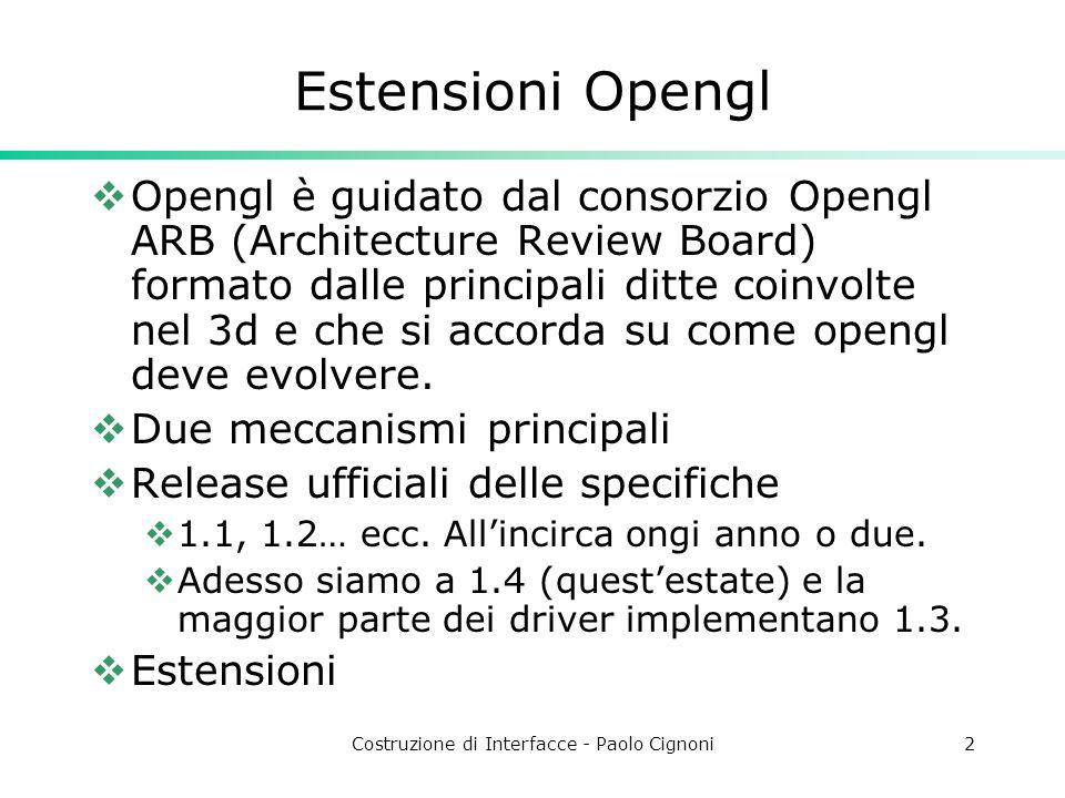 Costruzione di Interfacce - Paolo Cignoni2 Estensioni Opengl Opengl è guidato dal consorzio Opengl ARB (Architecture Review Board) formato dalle principali ditte coinvolte nel 3d e che si accorda su come opengl deve evolvere.