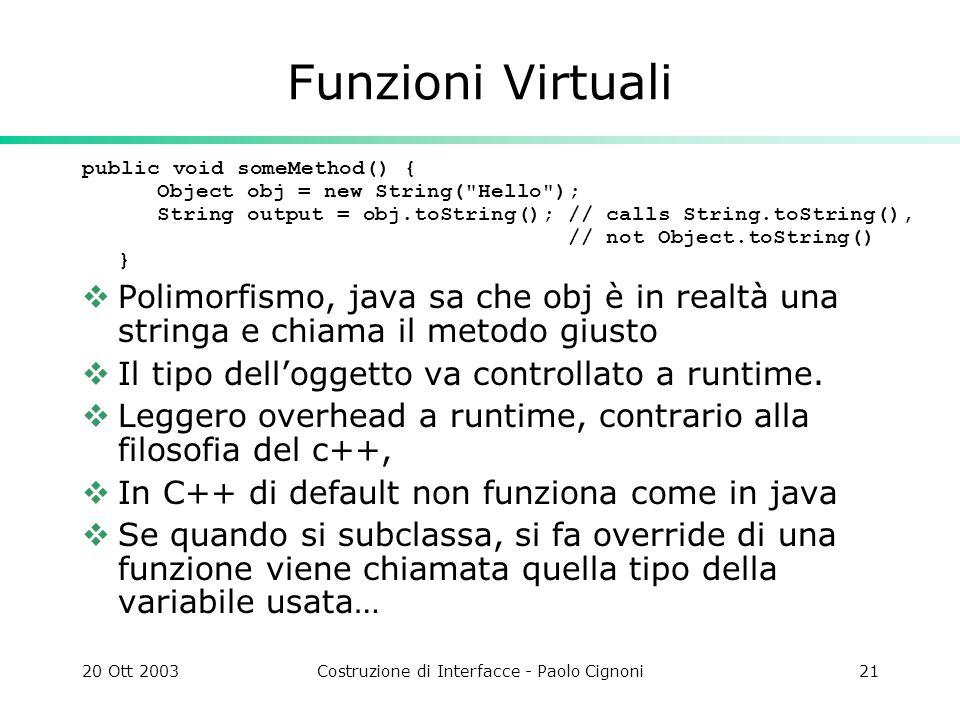 20 Ott 2003Costruzione di Interfacce - Paolo Cignoni21 Funzioni Virtuali public void someMethod() { Object obj = new String( Hello ); String output = obj.toString(); // calls String.toString(), // not Object.toString() } Polimorfismo, java sa che obj è in realtà una stringa e chiama il metodo giusto Il tipo delloggetto va controllato a runtime.