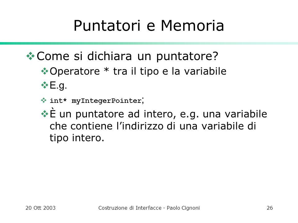20 Ott 2003Costruzione di Interfacce - Paolo Cignoni26 Puntatori e Memoria Come si dichiara un puntatore.