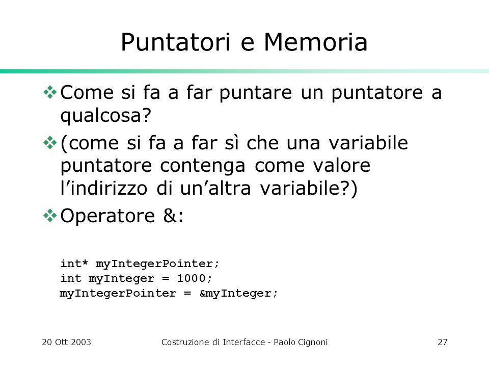 20 Ott 2003Costruzione di Interfacce - Paolo Cignoni27 Puntatori e Memoria Come si fa a far puntare un puntatore a qualcosa.