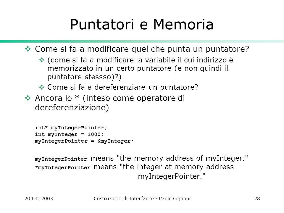 20 Ott 2003Costruzione di Interfacce - Paolo Cignoni28 Puntatori e Memoria Come si fa a modificare quel che punta un puntatore.