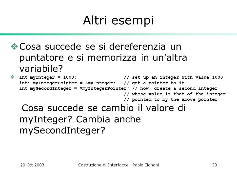 20 Ott 2003Costruzione di Interfacce - Paolo Cignoni30 Altri esempi Cosa succede se si dereferenzia un puntatore e si memorizza in unaltra variabile.