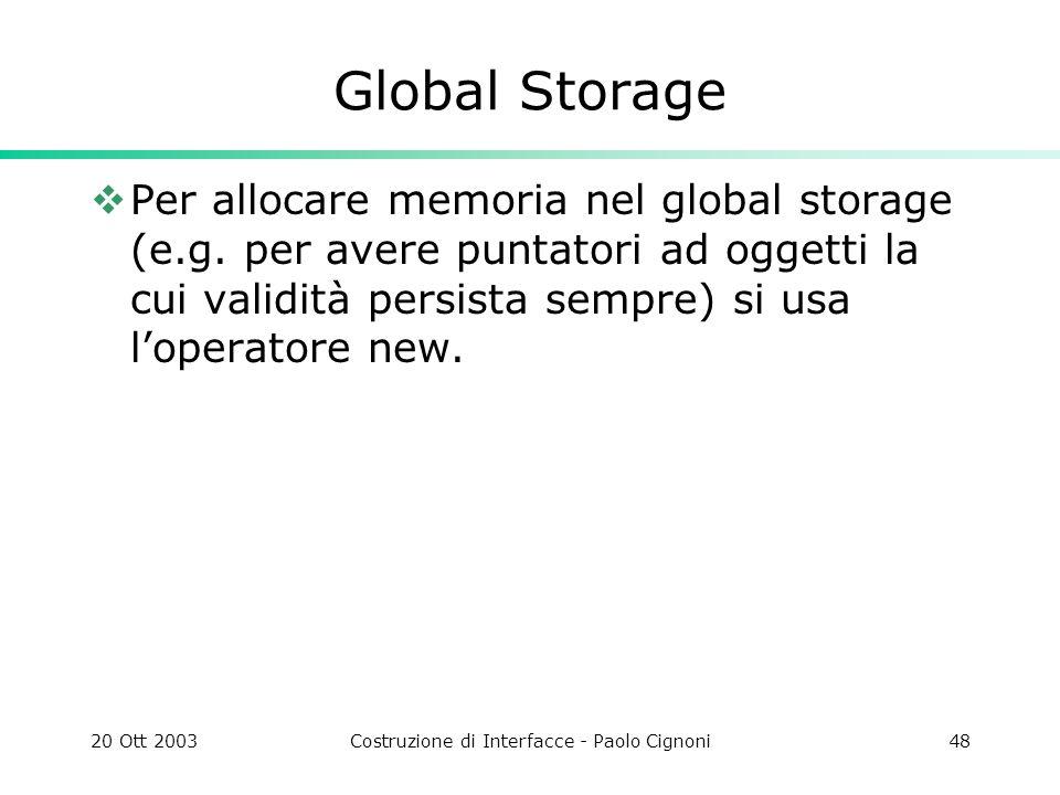20 Ott 2003Costruzione di Interfacce - Paolo Cignoni48 Global Storage Per allocare memoria nel global storage (e.g.