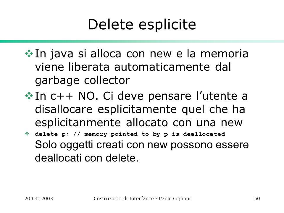 20 Ott 2003Costruzione di Interfacce - Paolo Cignoni50 Delete esplicite In java si alloca con new e la memoria viene liberata automaticamente dal garbage collector In c++ NO.