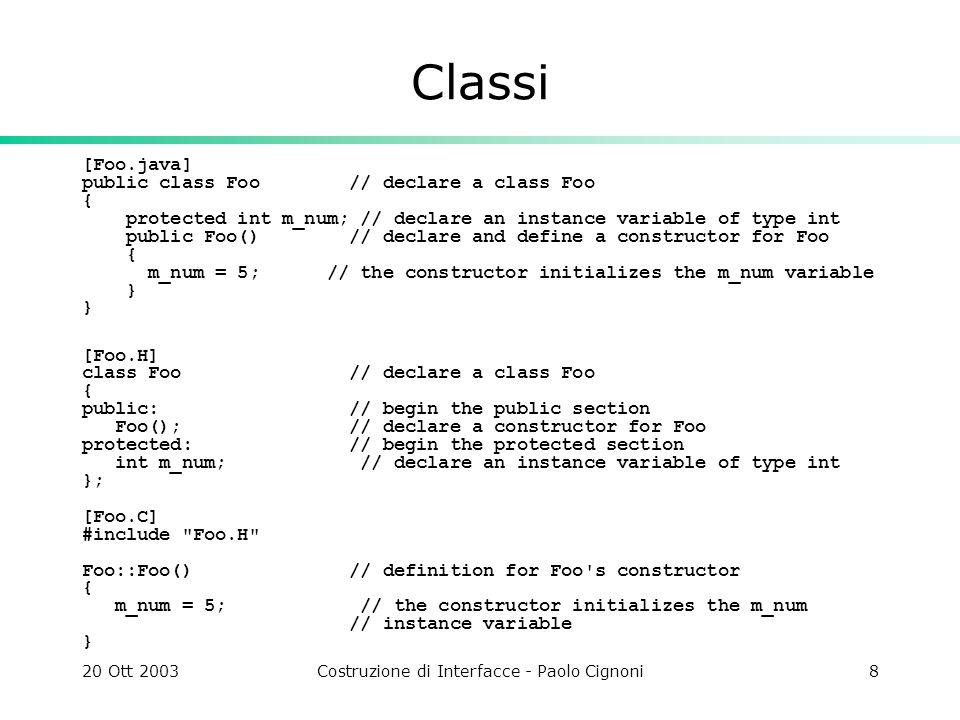 20 Ott 2003Costruzione di Interfacce - Paolo Cignoni8 Classi [Foo.java] public class Foo // declare a class Foo { protected int m_num; // declare an i