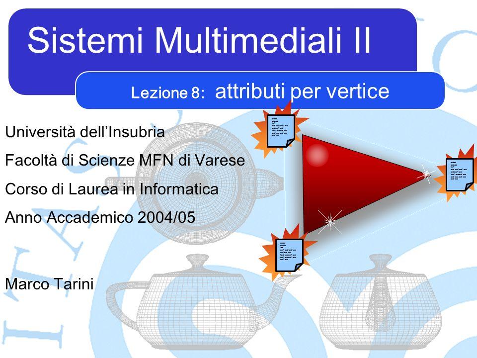 Sistemi Multimediali II Marco Tarini Università dellInsubria Facoltà di Scienze MFN di Varese Corso di Laurea in Informatica Anno Accademico 2004/05 Lezione 8: attributi per vertice asdad asdsad fadf asdf asdf asdf asd asdfasdf asd fasdf asdasdf asd asdf asd asdad asdsad fadf asdf asdf asdf asd asdfasdf asd fasdf asdasdf asd asdf asd asdad asdsad fadf asdf asdf asdf asd asdfasdf asd fasdf asdasdf asd asdf asd
