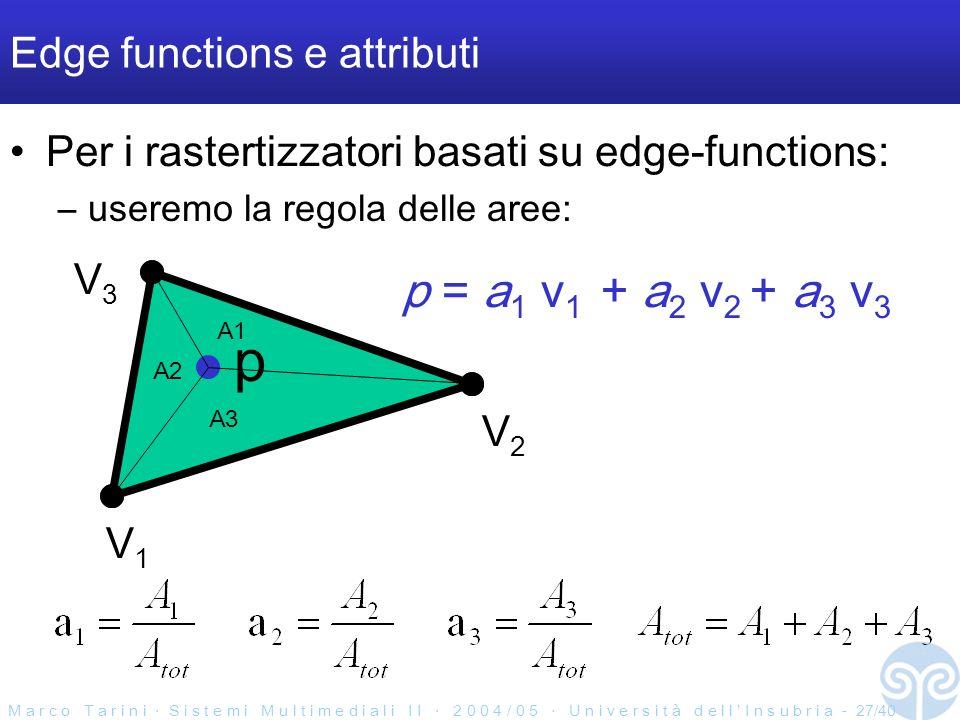 M a r c o T a r i n i S i s t e m i M u l t i m e d i a l i I I 2 0 0 4 / 0 5 U n i v e r s i t à d e l l I n s u b r i a - 27/40 Edge functions e attributi Per i rastertizzatori basati su edge-functions: –useremo la regola delle aree: V1V1 V2V2 V3V3 p p = a 1 v 1 + a 2 v 2 + a 3 v 3 A2 A3 A1