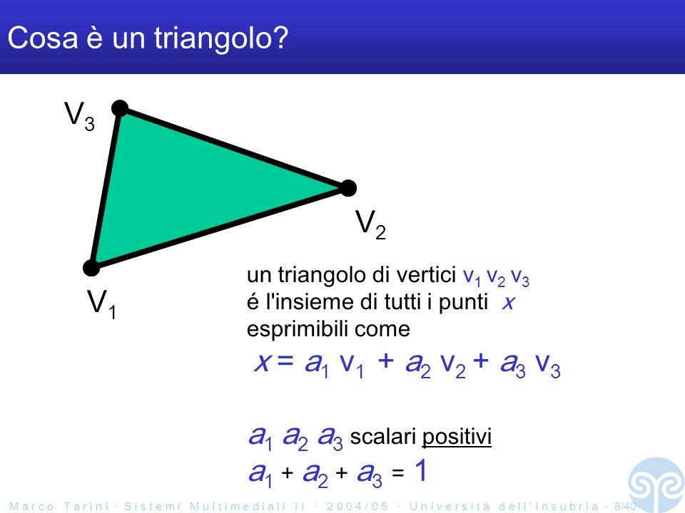 M a r c o T a r i n i S i s t e m i M u l t i m e d i a l i I I 2 0 0 4 / 0 5 U n i v e r s i t à d e l l I n s u b r i a - 29/40 FlashBack: Edge functions SI NO La funzione il cui segno ci dice in quale semipiano siamo n q v 0 =(x 0, y 0 ) v 1= (x 1, y 1 ) n = ( - ( y 1 -y 0 ), x 1 -x 0 ) p = (x 0, y 0 ) f(q) = nq - np v2v2 totale: l edge function per un lato è la coord baricentrica ralativa al vertice opposto (dopo aver diviso per la somma delle 3 edge functions)