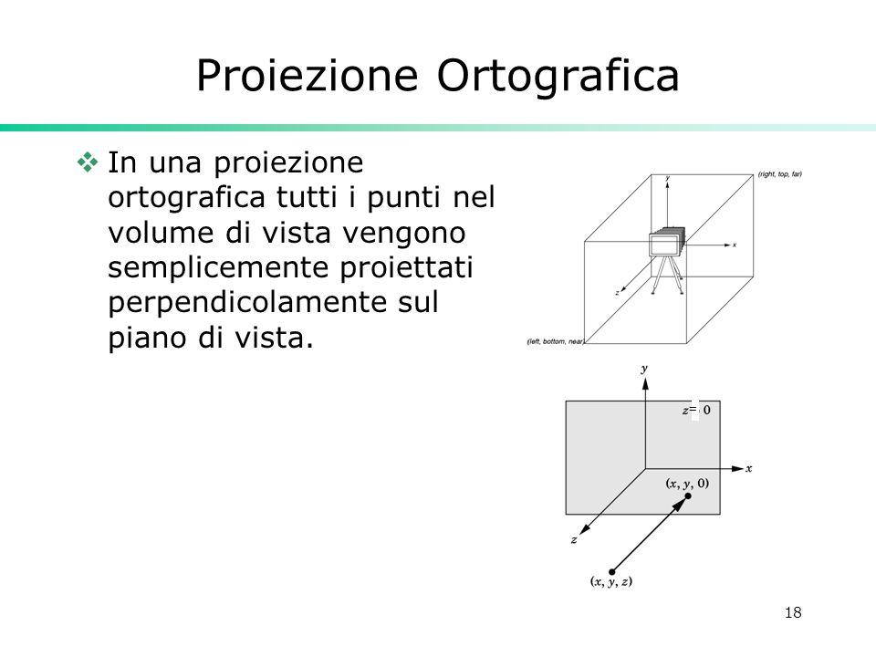 18 Proiezione Ortografica In una proiezione ortografica tutti i punti nel volume di vista vengono semplicemente proiettati perpendicolamente sul piano di vista.