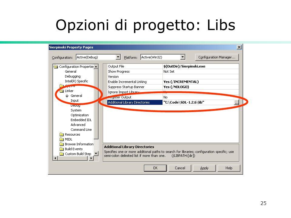 25 Opzioni di progetto: Libs