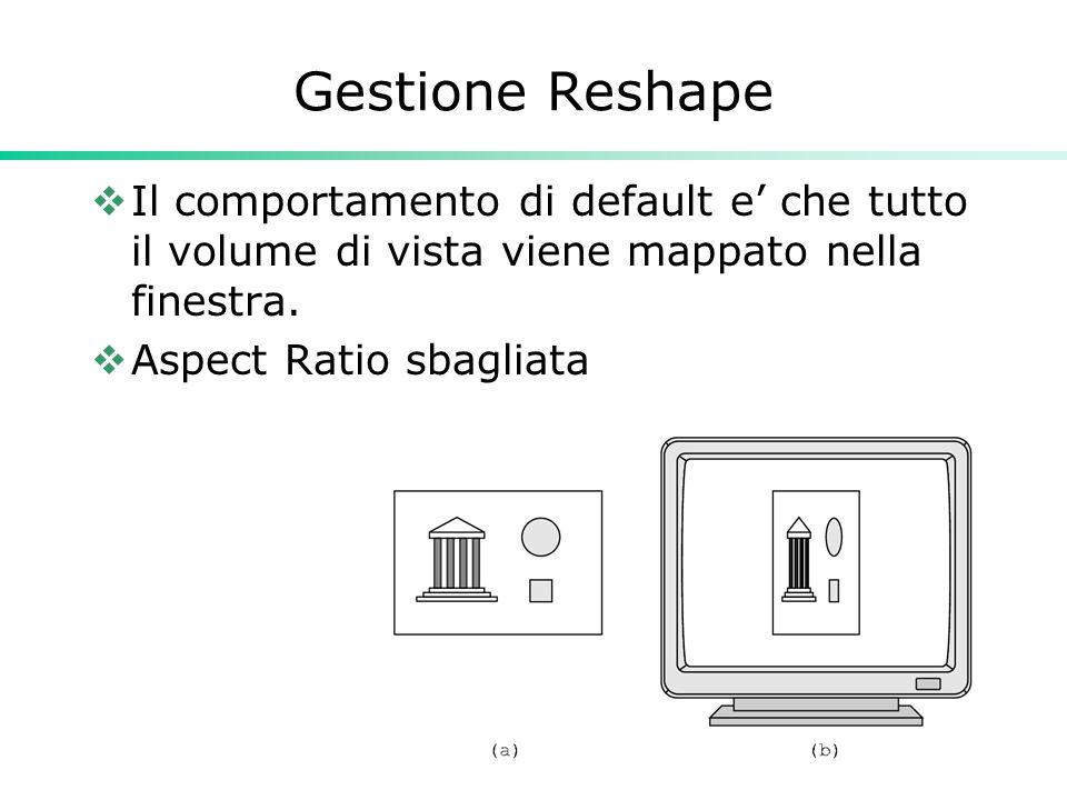 34 Gestione Reshape Il comportamento di default e che tutto il volume di vista viene mappato nella finestra. Aspect Ratio sbagliata