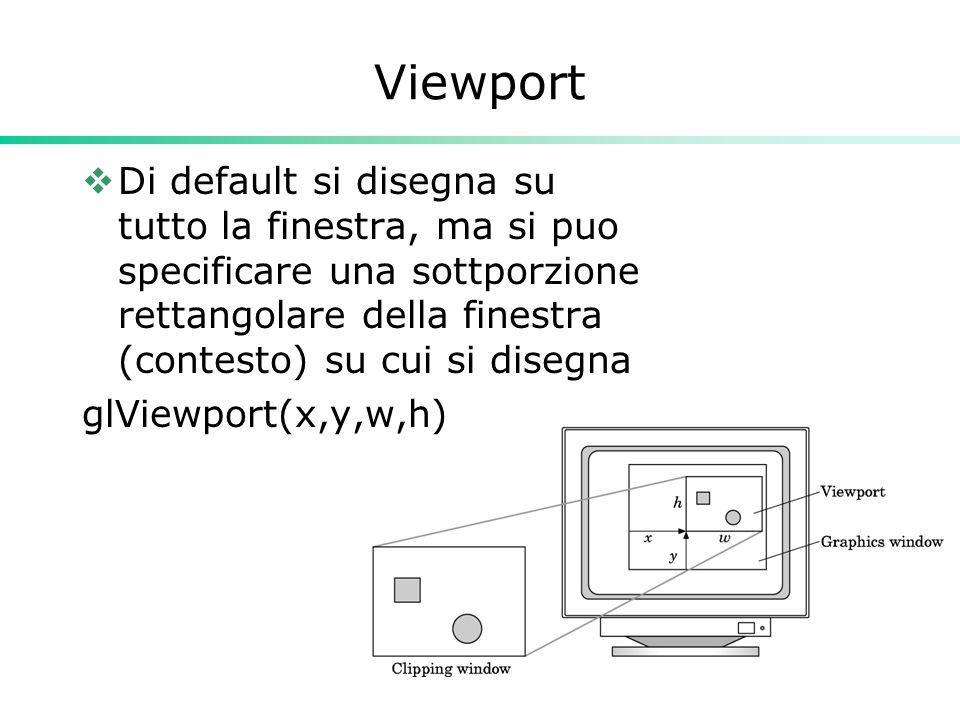 35 Viewport Di default si disegna su tutto la finestra, ma si puo specificare una sottporzione rettangolare della finestra (contesto) su cui si disegna glViewport(x,y,w,h)