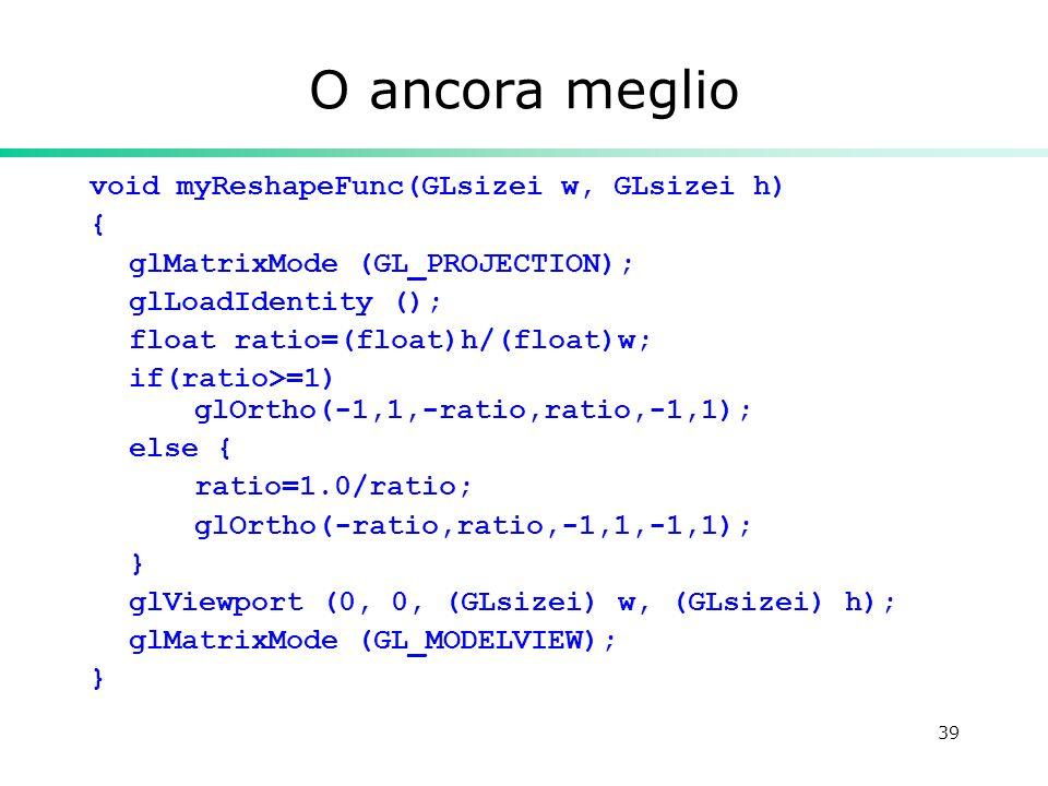 39 O ancora meglio void myReshapeFunc(GLsizei w, GLsizei h) { glMatrixMode (GL_PROJECTION); glLoadIdentity (); float ratio=(float)h/(float)w; if(ratio>=1) glOrtho(-1,1,-ratio,ratio,-1,1); else { ratio=1.0/ratio; glOrtho(-ratio,ratio,-1,1,-1,1); } glViewport (0, 0, (GLsizei) w, (GLsizei) h); glMatrixMode (GL_MODELVIEW); }