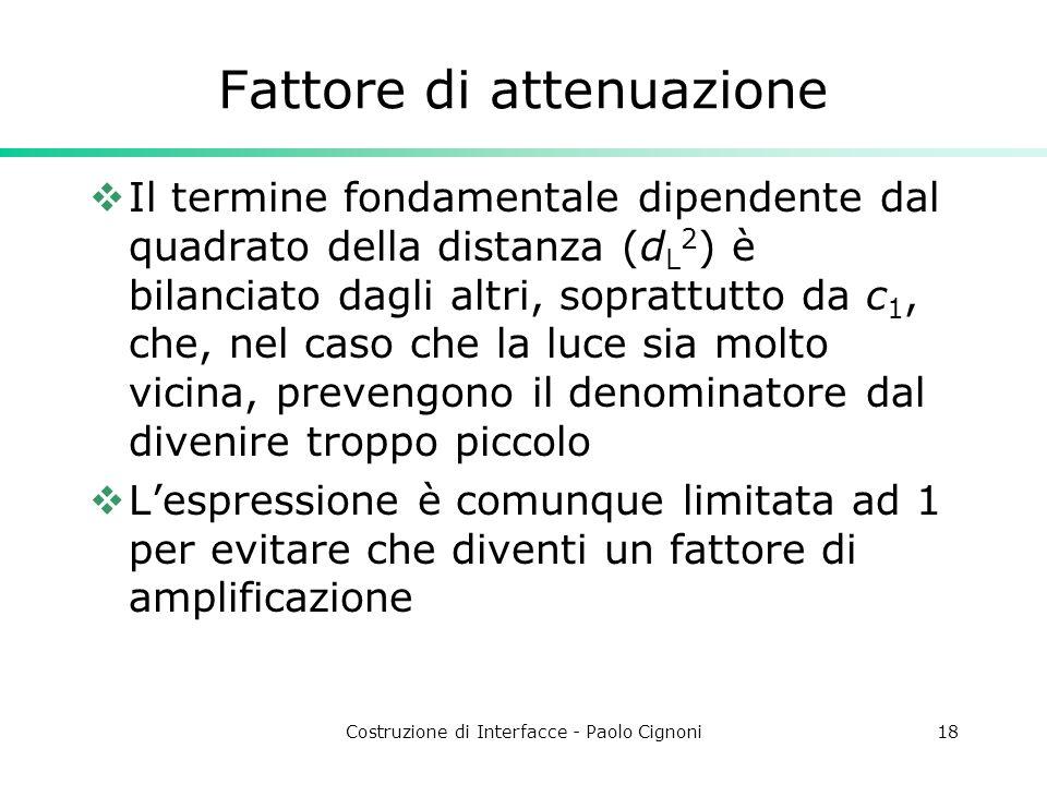 Costruzione di Interfacce - Paolo Cignoni18 Fattore di attenuazione Il termine fondamentale dipendente dal quadrato della distanza (d L 2 ) è bilancia