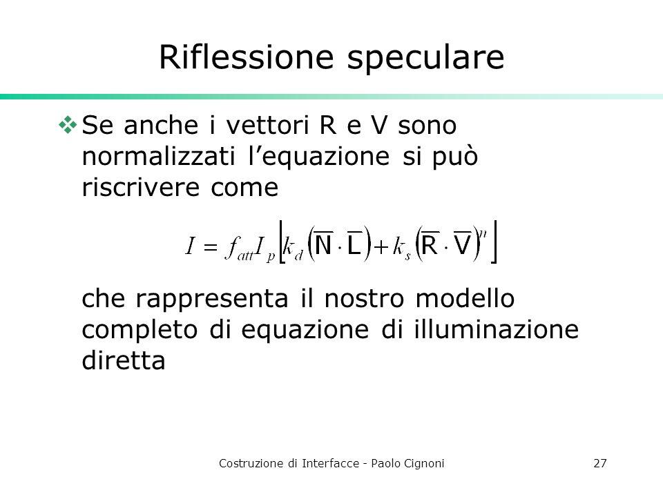 Costruzione di Interfacce - Paolo Cignoni27 Riflessione speculare Se anche i vettori R e V sono normalizzati lequazione si può riscrivere come che rap