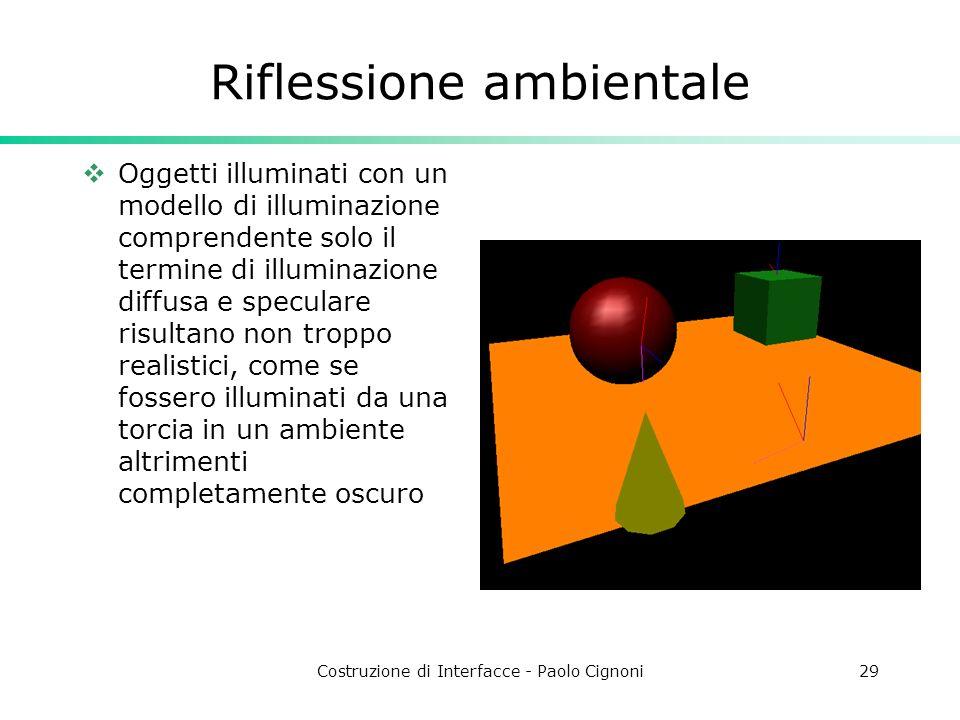 Costruzione di Interfacce - Paolo Cignoni29 Riflessione ambientale Oggetti illuminati con un modello di illuminazione comprendente solo il termine di