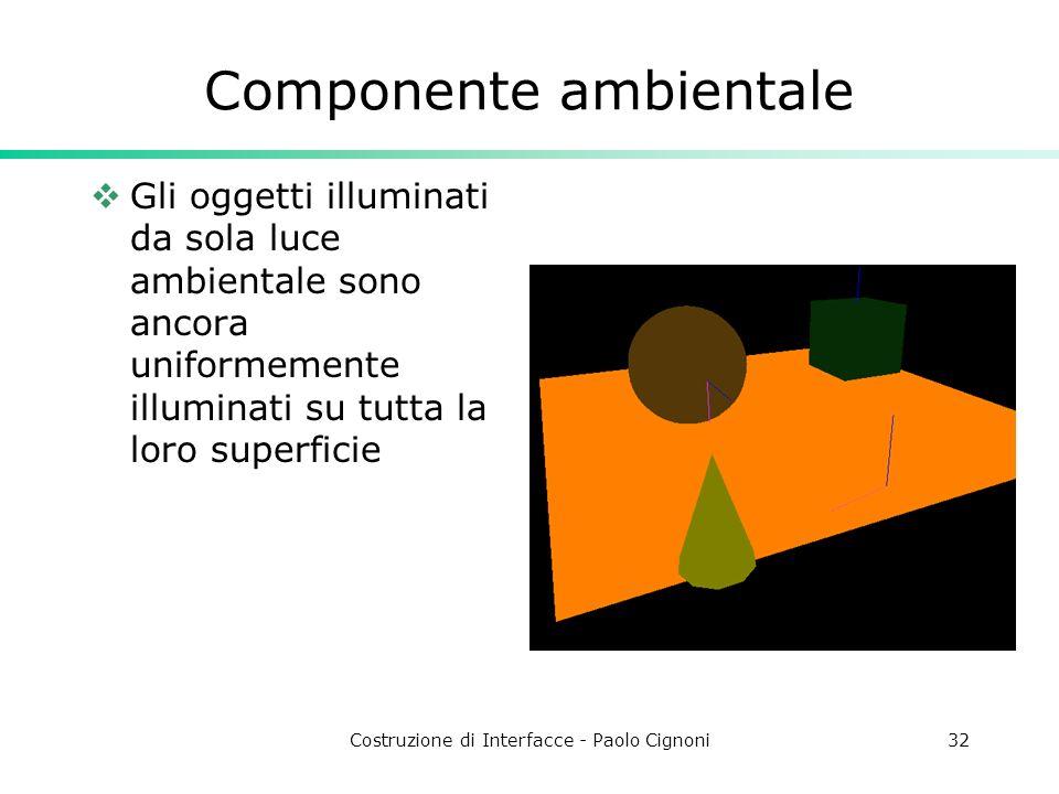 Costruzione di Interfacce - Paolo Cignoni32 Componente ambientale Gli oggetti illuminati da sola luce ambientale sono ancora uniformemente illuminati