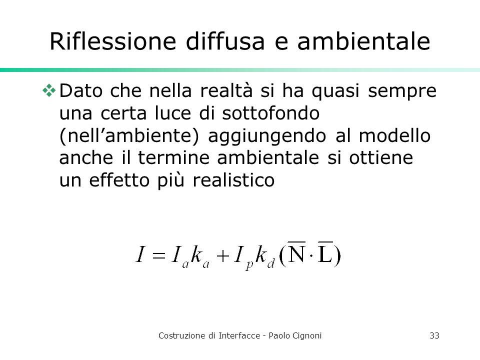 Costruzione di Interfacce - Paolo Cignoni33 Riflessione diffusa e ambientale Dato che nella realtà si ha quasi sempre una certa luce di sottofondo (ne