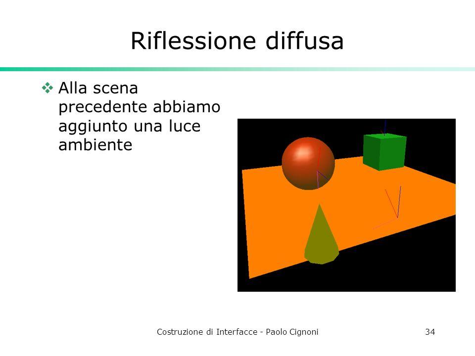 Costruzione di Interfacce - Paolo Cignoni34 Riflessione diffusa Alla scena precedente abbiamo aggiunto una luce ambiente