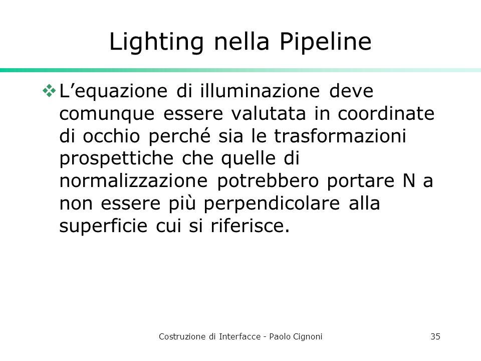 Costruzione di Interfacce - Paolo Cignoni35 Lighting nella Pipeline Lequazione di illuminazione deve comunque essere valutata in coordinate di occhio