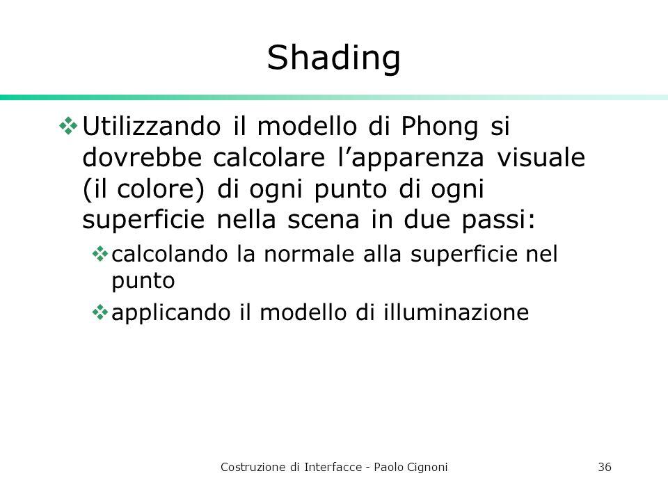 Costruzione di Interfacce - Paolo Cignoni36 Shading Utilizzando il modello di Phong si dovrebbe calcolare lapparenza visuale (il colore) di ogni punto