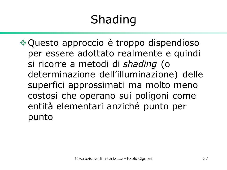 Costruzione di Interfacce - Paolo Cignoni37 Shading Questo approccio è troppo dispendioso per essere adottato realmente e quindi si ricorre a metodi d