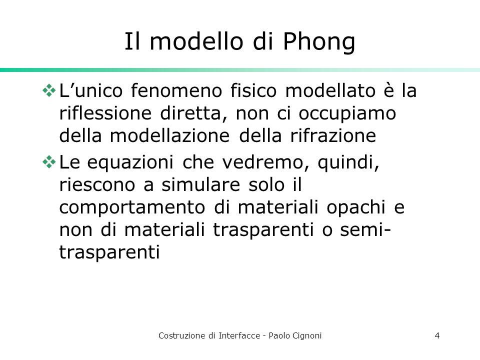 Costruzione di Interfacce - Paolo Cignoni4 Il modello di Phong Lunico fenomeno fisico modellato è la riflessione diretta, non ci occupiamo della model