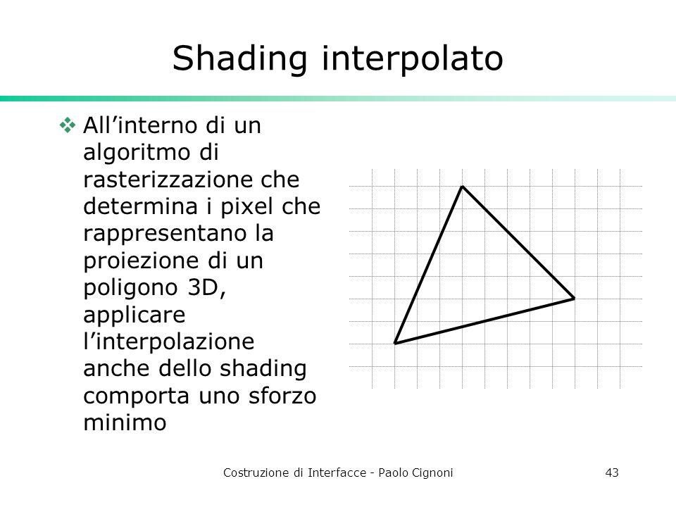 Costruzione di Interfacce - Paolo Cignoni43 Shading interpolato Allinterno di un algoritmo di rasterizzazione che determina i pixel che rappresentano