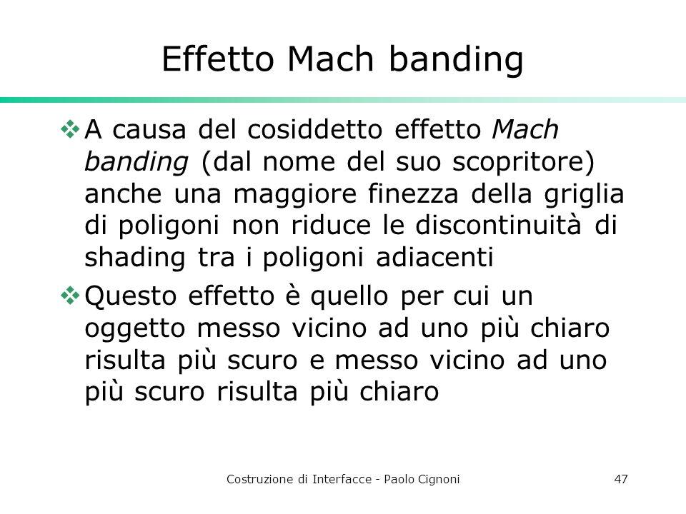 Costruzione di Interfacce - Paolo Cignoni47 Effetto Mach banding A causa del cosiddetto effetto Mach banding (dal nome del suo scopritore) anche una m