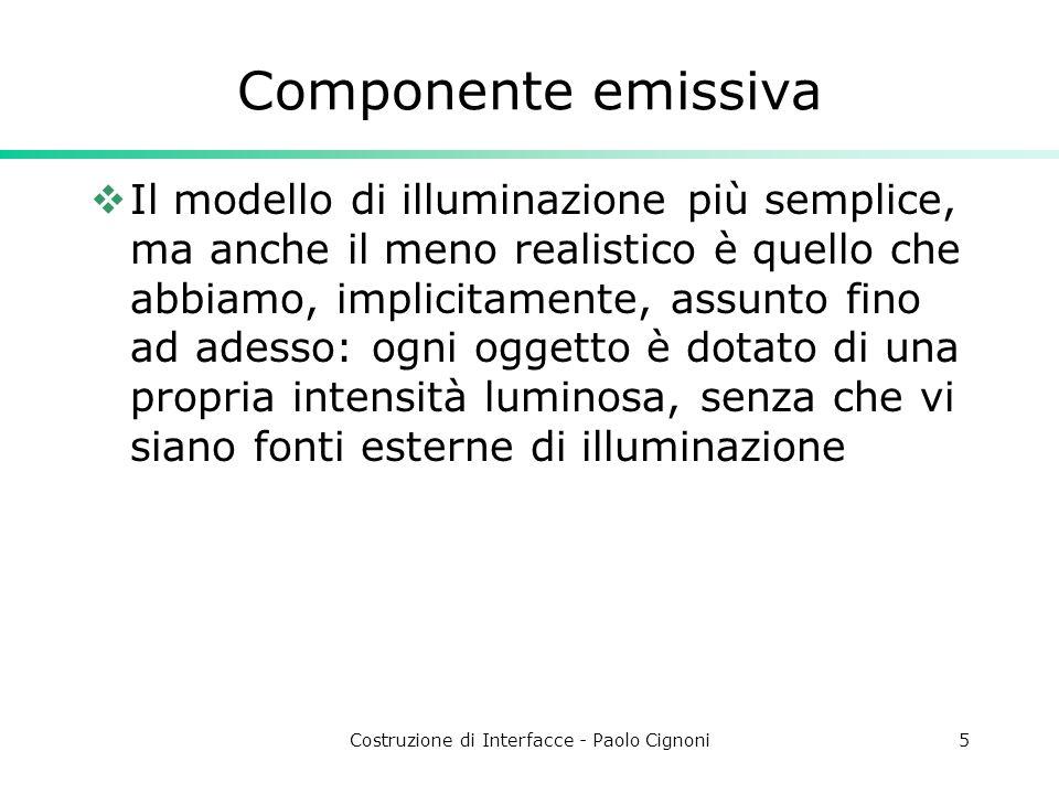 Costruzione di Interfacce - Paolo Cignoni5 Componente emissiva Il modello di illuminazione più semplice, ma anche il meno realistico è quello che abbi