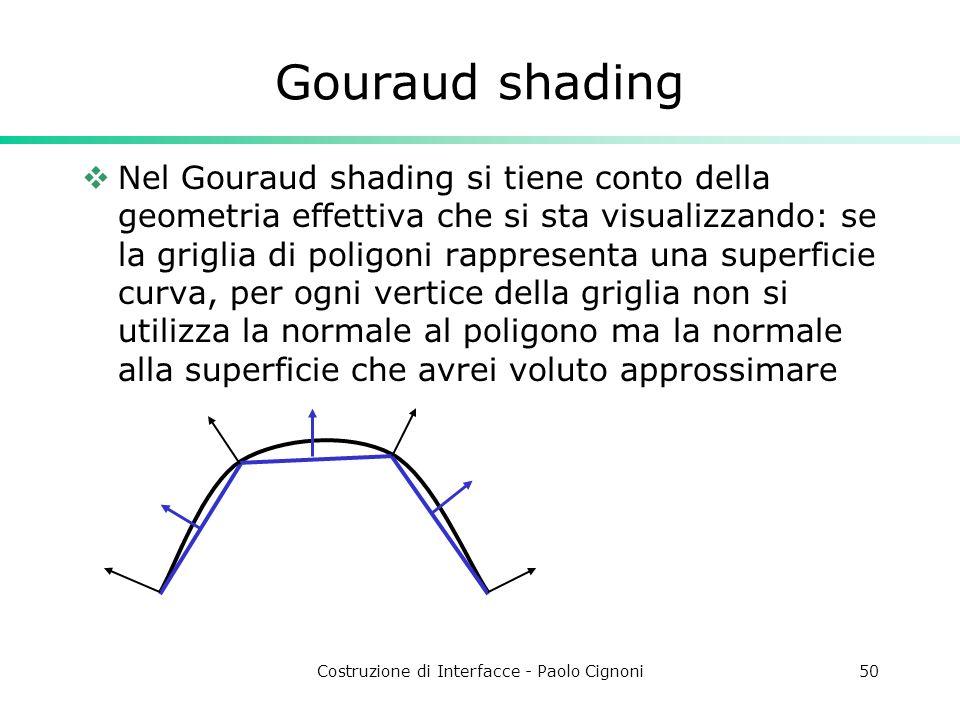Costruzione di Interfacce - Paolo Cignoni50 Gouraud shading Nel Gouraud shading si tiene conto della geometria effettiva che si sta visualizzando: se