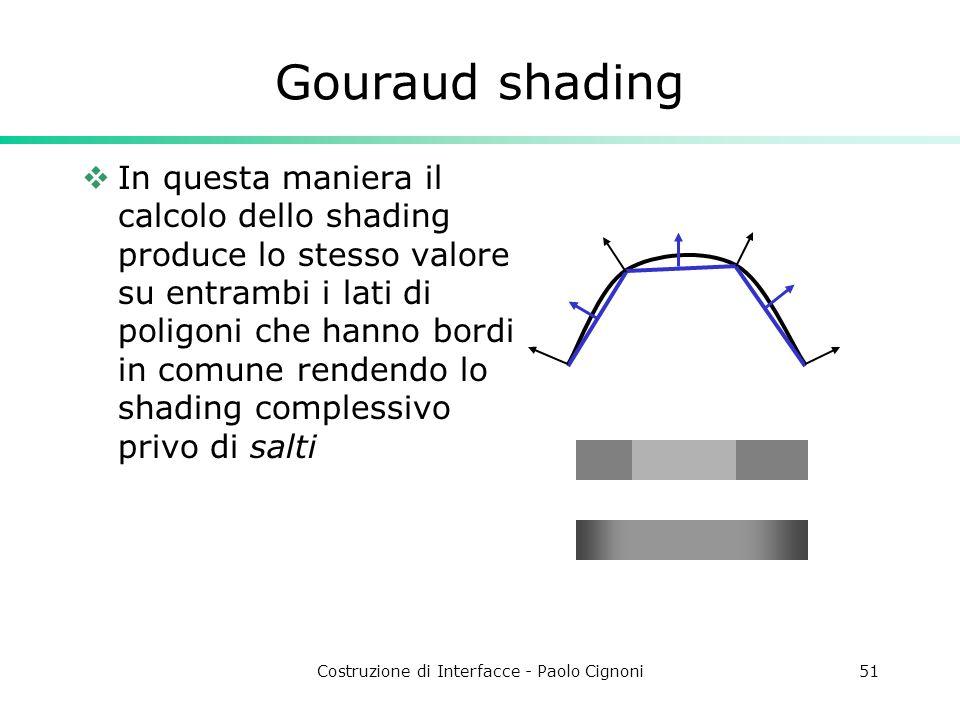 Costruzione di Interfacce - Paolo Cignoni51 Gouraud shading In questa maniera il calcolo dello shading produce lo stesso valore su entrambi i lati di