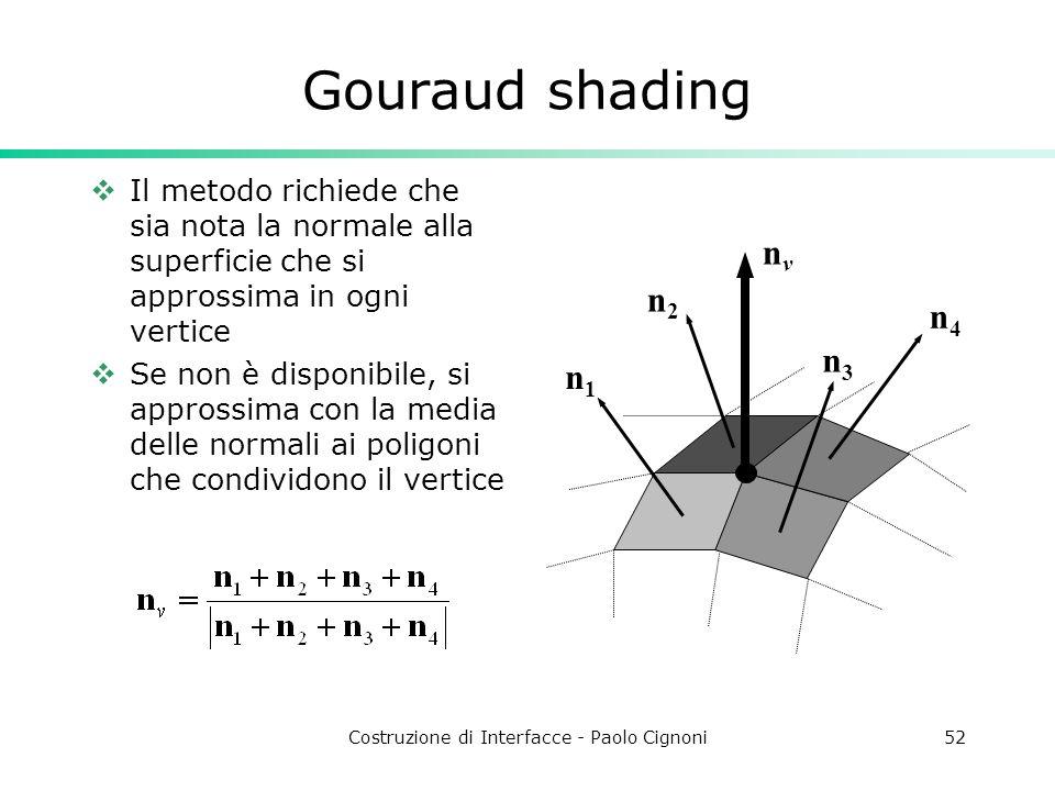 Costruzione di Interfacce - Paolo Cignoni52 Gouraud shading Il metodo richiede che sia nota la normale alla superficie che si approssima in ogni verti