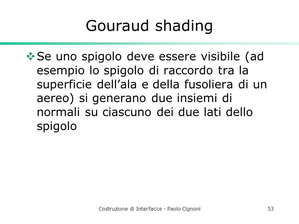 Costruzione di Interfacce - Paolo Cignoni53 Gouraud shading Se uno spigolo deve essere visibile (ad esempio lo spigolo di raccordo tra la superficie d