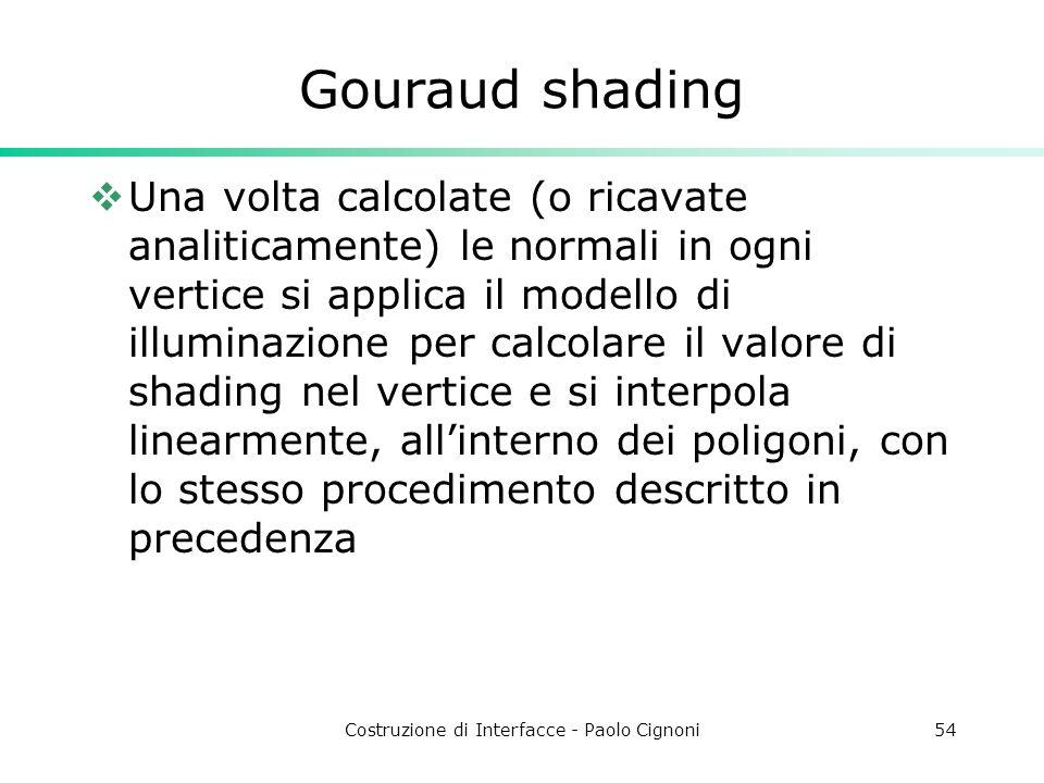 Costruzione di Interfacce - Paolo Cignoni54 Gouraud shading Una volta calcolate (o ricavate analiticamente) le normali in ogni vertice si applica il m