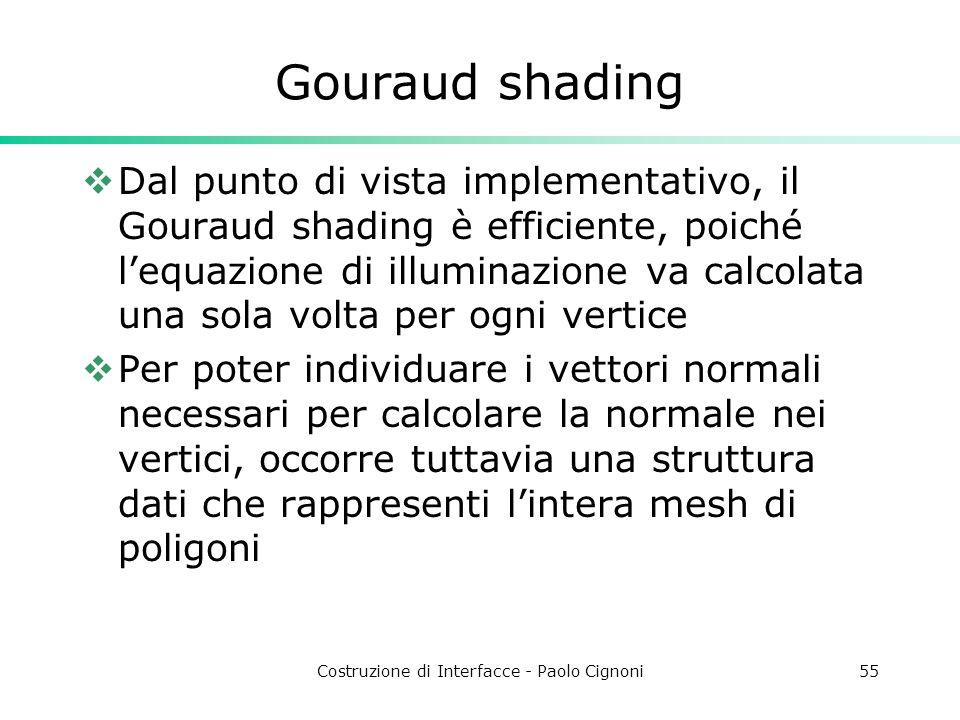 Costruzione di Interfacce - Paolo Cignoni55 Gouraud shading Dal punto di vista implementativo, il Gouraud shading è efficiente, poiché lequazione di i